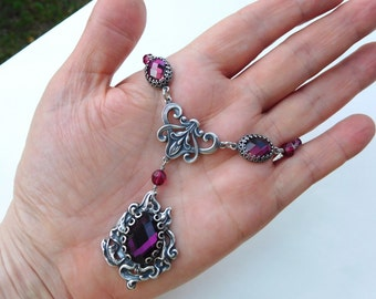 Purple rhinestone pendant necklace, antiqued silver filigree necklace, plum ruby colors Austrian crystals, Art Nouveau style purple jewelry