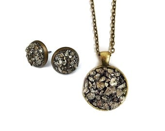 Pyrite Jewelry Set - Raw Stone Necklace, Pyrite Studs, Mineral Jewelry, Boho Chic, Raw Stone Studs, Jewelry Gift Set, Crushed Pyrite