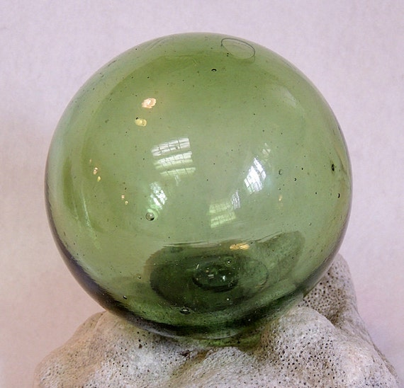 "Vintage 13"" In Circumference Japanese GLASS FISHING FLOAT Olive Green & Bubbles (#40)"