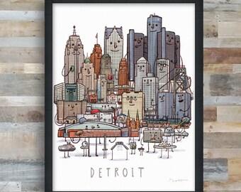 Detroit Skyline group picture- art print