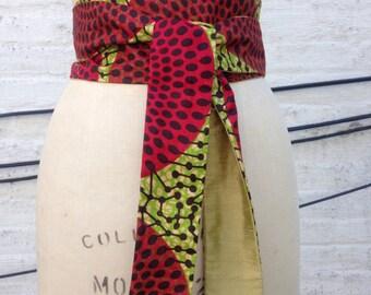 African Wax Print and Silk Shantung Reversible Obi Sash