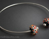 Lampwork glass beads Torque necklace - Torc necklace - Lampwork beads - Orange metallic dots - statement necklace - Silver glass - Murano