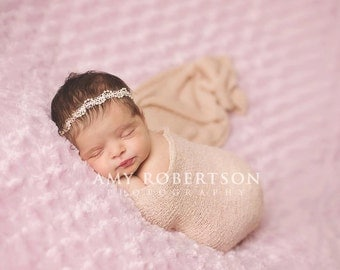 Baby Headband- - Ivory Beaded Trim Headband