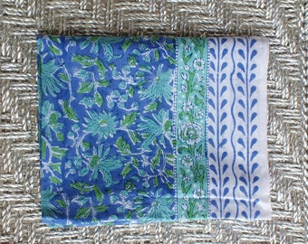 Indian Hand Block Printed Fabric Big Scarf, Table Cloth, Picnic Blanket, Sarong, Shawl, Summer Blanket Green Blue and Purple