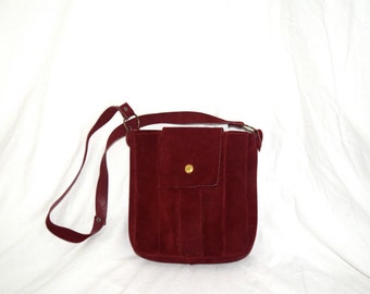 Burnt Fire - Burgundy Leather Small Bucket Bag with Gold Snap