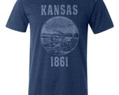 Kansas State Seal T-Shirt. Vintage Style Soft Retro Midwestern Shirt Unisex Men's Slim Fit and Women's Tee