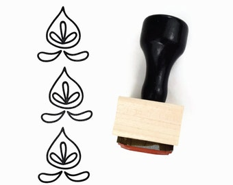 Rubber Stamp Flower Pod Hand Drawn Pattern - DIY Geometric Pattern Maker - Wood Mounted Stamp with Handle