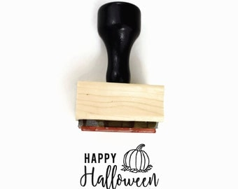 Rubber Stamp Happy Halloween Pumpkin - Fall Harvest Festival - Wood Mounted Stamp by Creatiate