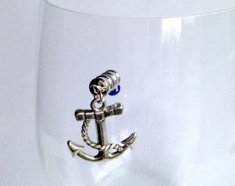 MAGNETIC Nautical Theme Wine Charms: Nautical Decor, gift for nautical lover. Nautical Wine Charms. Nautical Wine Decor for Stemless Glasses