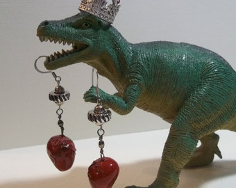 handmade human heart horror earrings unusual ooak red heart jewelry quirky fun earrings Valentines Day gift jewelry unique macabre earrings