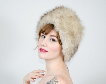 1950s vintage hat / blue fox fur hat / fur cloche