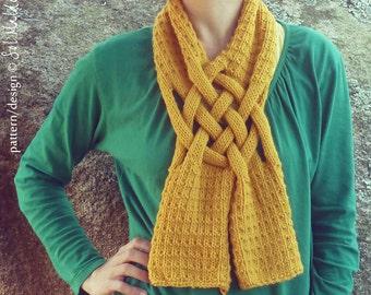 Scarf Knit PDF Pattern Weave - Knitting cowl Pattern - unisex neckwarmer man scarf & woman scarf - Instant Download