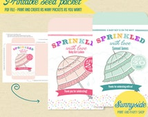Printable Baby Shower Seed Packet Favor, Sprinkled with Love, Baby Sprinkle Favor, Boy or Girl, Printable Seed Packet