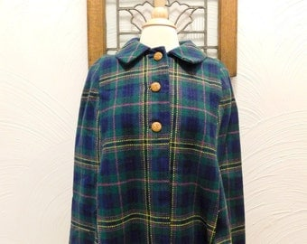 1960s Plaid Cape Vintage 60s Tartan Wool Poncho