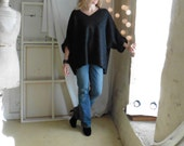 V Neck Oversized Tunic in Boiled Wool Anthracite- Raglan Wide Sleeves -  Black,Taupe, Beige and Brown also now in stock.  FREE SHIPPING