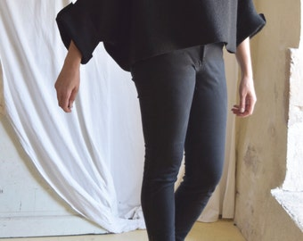 Black Tunic in Boiled Wool - Raglan Wide Sleeves - Size Small Medium  Ready to Ship