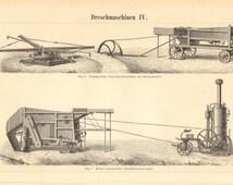 1894 Threshing Machines, Threshers Vintage Engraving Print