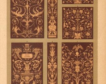 1894 Wood Intarsia, Wood Inlay Original Antique Chromolithograph