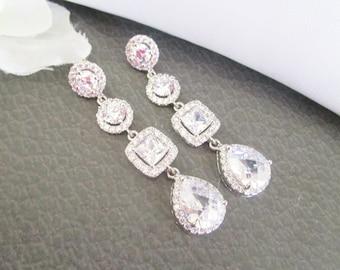 Cubic Zirconia Bridal Earrings Long Wedding Earrings,Princess Cut Earrings Cubic Zirconia Bridal Earrings,Chandelier Earrings, Stud, Post