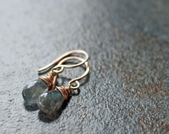 Dainty labradorite and rose gold fill earrings