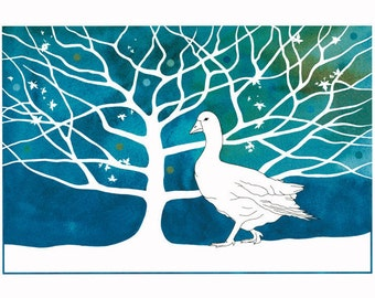 Illustration, Watercolor painting, 10 x 8, Graphic art, White goose, Bird print, Tree Art, Modern Art, Contemporary painting, Blue white