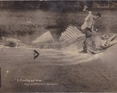 Monster Fish- 1910s Antique Photograph- Finally Got Him- Edwardian Humor- Giant Fish- Exaggerated RPPC- Real Photo Postcard- Paper Ephemera