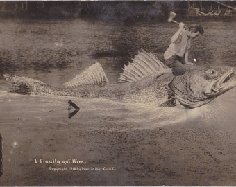 Monster Fish- 1910s Antique Photograph- Finally Got Him- Edwardian Humor- Giant Fish- Exaggerated RPPC- Real Photo Postcard- Paper Ephemera