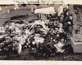 Big Grandpa's Grave- 1920s Antique Photograph- Funeral Flowers- Cemetery Photo- Headstone Picture- Graveyard- Found Photo- Paper Ephemera