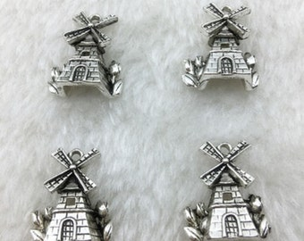 Windmill Charm Antiqued Silver Metal Charm Pendants 18x15mm destash collection SALE USA