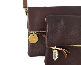 Leather Crossbody Purse / Foldover Clutch - Italian Leather (avail in multiple colors)