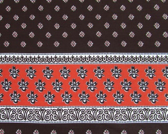 "Border Print Fabric - 2.5 yds x 42"" W - Mod 70s Brown & Orange cotton blend"