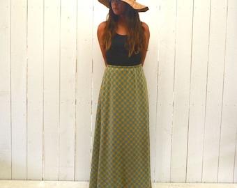 High Waist Plaid Skirt 60s Vintage Mustard Yellow Blue ALine Hippie Boho Skirt