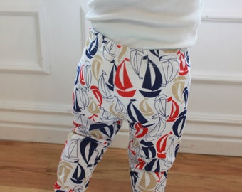 SALE Blue, Navy, Raspberry Red, White, Cream, Tan Nautical, Sail Boat, Unisex, Baby Girl, Baby Boy Knit Leggings Pants
