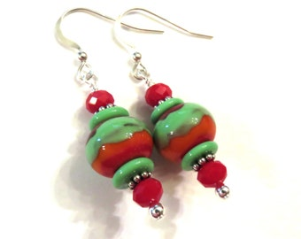 Green Red & Orange Lampwork Earrings, Green Lampwork Earrings, Red Lampwork Earrings, Green Earrings, Red Earrings, Orange Earrings