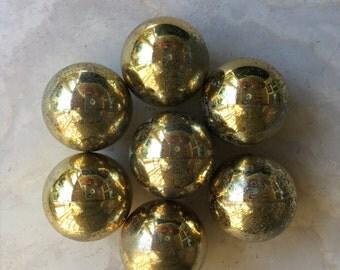 Round Brass Ball Knob Metal Vintage Drawer Pull - #A2075