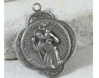 Saint Christopher Vintage Sterling CREED Religious Medal Pendant on 18 inch sterling silver rolo chain