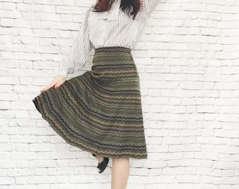 Rare Vintage 50s J Tiktiner France Knit Scalloped Striped Fluted Skirt S Olive Blue Gold