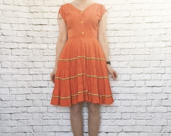 Vintage 50s Patio Dress Orange RicRac Ribbon Trim Tiered Circle Skirt Tie Shoulders S Rockabilly Squaw