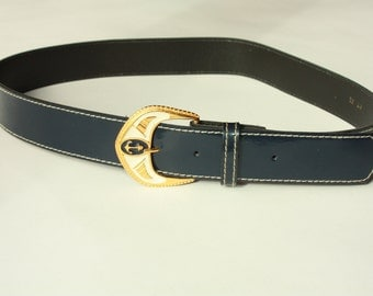 Vintage Dark blue Belt with Metal Buckle - ... a Fashionista Statement Piece can fit for Size XS /// S /// M