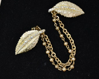 Vintage Leaf Rhinestone Sweater Clips with Faux Pearl and Metal Chains