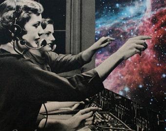 Surreal Art, Retro Art, Paper Collage Print, Collage Art, Space Art, Telephone Operators, Unusual Wall Art, Weird Art, Cosmic Art