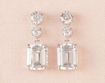 Crystal Bridal earrings  Emerald Cut Wedding jewelry Crystal Wedding earrings Bridal jewelry, Kaitlyn Crystal Drop Earrings