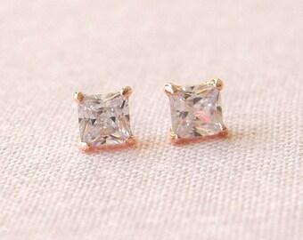 Rose Gold Stud Earrings, Square Bridal Earrings, Small Stud Earrings, 2nd hole Earrings, Bridesmaid jewelry, Small Square Stud earrings