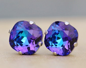 Swarovski BLUE PURPLE Heliotrope Cushion Stud,Swarovski Rhinestone Earring,Post,Silver Stud,Rare Color,Rainbow,Jewel Tone,12mm Large Stud