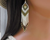 Brown Green and Ivory Porcupine Quill Earrings - Seed Bead Fringe Earrings - Long Dangle Earrings - Lightweight Olive Green