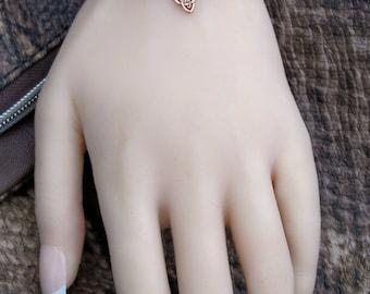 7.5 Inch Minimalist Bracelet - Copper Triquetra Bracelet - Stackable Friendship - Trendy Celtic - Tiny Bead - Red Jasper & Blue Agate