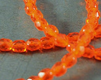 4mm Transparent Hyacinth Czech Glass Fire Polished Faceted Round - Full Strand - 50 Beads