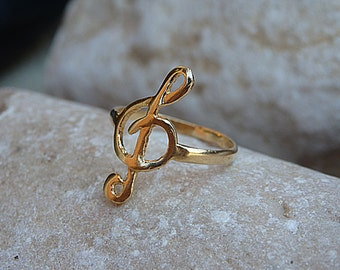 G Clef Treble Clef Ring. Goldfilled Music Ring. Gold Musical Note Ring. Musical Gift. Sol Key Ring. Music Jewelry. Music Lovers Ring Gift