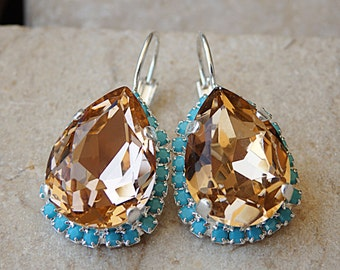 Turquoise blush peach swarovski Earrings, Drop Shaped Earrings, Swarovski Bridal Earrings, Bridesmaids Blush Earrings, Wedding Jewelry