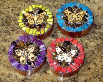Butterfly magnets colorful mosaic butterfly strong magnets rustic wood rounds refrigerator decoration